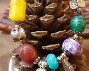 Original designed bracelet,Main material:cloudy amber、 Amazonite 、Rock Crystal Quartz、Agate