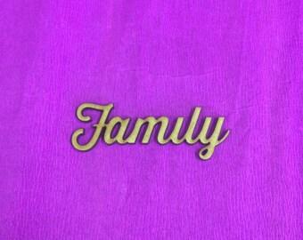 5 laser cut MDF family lettering