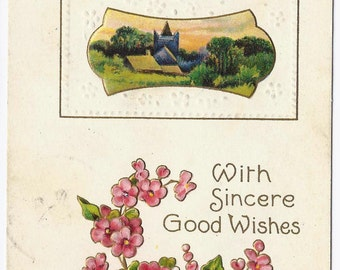 Old Vintage Postcard, Pink Flowers, 1c Stamp, New York