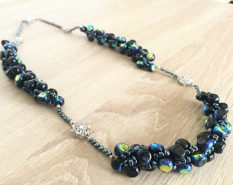 Custom necklace with glass bead prisms - unique