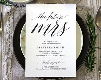 Bridal Shower Invitation, Wedding Shower Invitation, Bridal Shower Invites, miss to mrs, the future mrs, here comes the bride, WPC_43SD1A