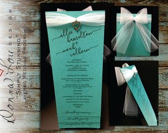"Wedding Program, Layered, Ceremony Program, Customized Printable Digital Template, DIY, Wedding Party, Order of Service, ""Simply Stunning"""