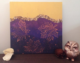 Bronze and purple leaf painting