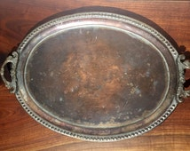 Persian Copper Tray - Qajar Dynasty - Persia - Iran - Iranian - Kitchen Dining Serving - Free Shipping - Handles - Display - Antique Vintage