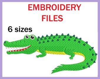 Crocodile - Design for Embroidery Machine Digital Graphic Filled Stitch Instant Download Commercial Use animal safari jungle File 55e