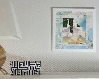 Orginal watercolor, painting, collage, drawing, unique, figurative, fine art modern, polar bear, bleu, Greece, maap, animal, meeting, travel