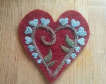 "Felted Heart Patch 3""-Red"