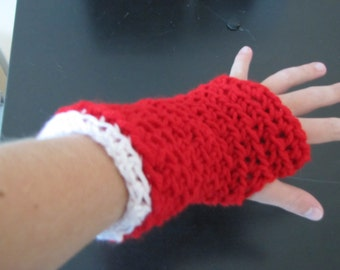 Crochet Red and White Christmas Holiday Fingerless Gloves Ready to Ship
