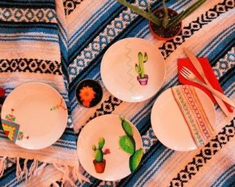"Four Hand Painted, New ""Feisty Fiesta"" Dessert/Side Plates"