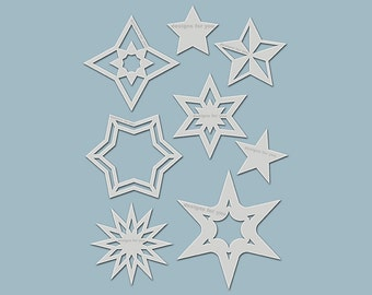 "Template / stencil ""9 Star"" (silhouettes) for Christmas decoration, textile design, mixed media, scrapbooking, decoration, window,..."
