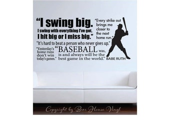 Baseball Babe Ruth quote collage Baseball Sports Subway art vinyl wall decal