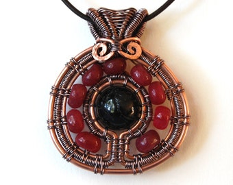 Tribal pendant necklace copper wire weaving with tourmaline and jade gems