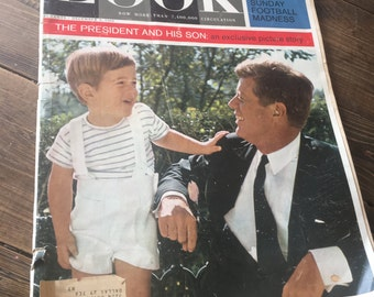 December 3, 1963 Copy Of LOOK Magazine/Collectible Kennedy Magazine/Vintage LOOK Magazine of John F. Kennedy/JFK and Son Edition