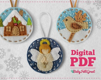 Digital PDF Pattern DIY Christmas felt ornaments blue Set 2 Felt House Bird Angel Instant download