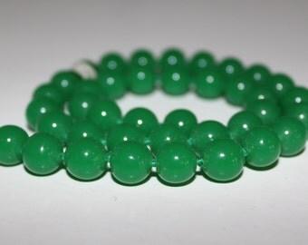 76 Vintage Japanese jade green glass round beads 9mm