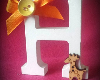 """Hand decorated wooden letter """"H"""" girraffe theme"""