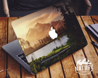 Cool laptop decal calm tree scenery Covers for macbook pro Water cool apple stickers with green and yellow landscape -NI041