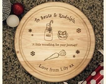 Santa and Rudolpg treats wooden board