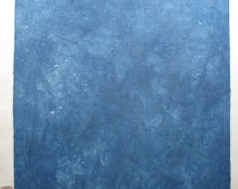Hand dyed indigo up-cycled cotton fat quarter with subtle variations and rich depth of colour, navy blue cotton fabric