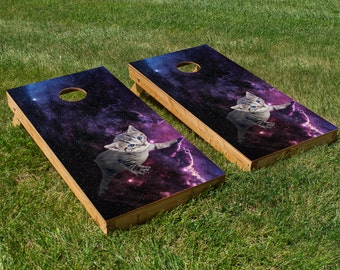 Kitten in Space Cornhole Board Set