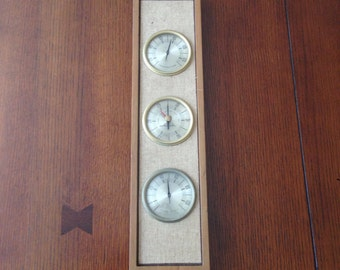Mid-century modern temperature/barometer/humidity home decor 1965 vintage