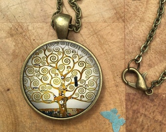 Tree of Life Gustav Klimt Art Glass Dome Round Cabochon Necklace Pendant Gift UK