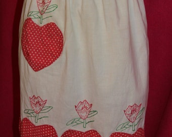 Apron Very Vintage -Vinta White with Red polka dot hearts and hand embroidery