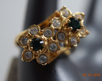 Austrian Crystal Ring, Gold Tone