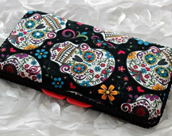 Black Sugar Skulls Travel Wipes Case