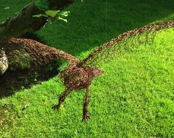 Wire sculpture - sparrow hawk. Metal garden sculpture. Bird sculpture. Hawk. Garden sculpture. Garden ornament. Garden decor.. Garden statue