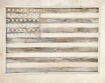 Rustic Distressed American flag no color