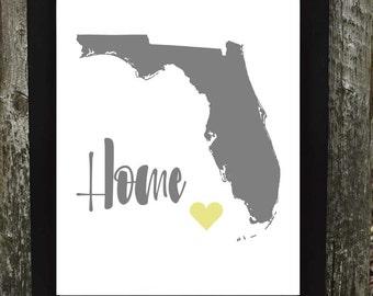 Florida Print, Florida Digital Download Print, States Downloadable Print