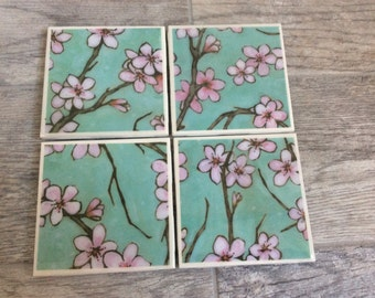 Ceramic tile coasters- Cherry blossom pattern