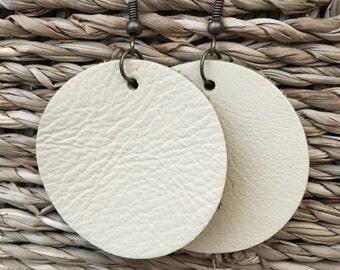 Cream Leather Circle Earrings