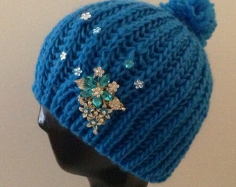 Blue beanie bedazzled/decorated with pretty accents