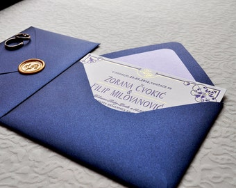 Letterpress Wedding Invitations with Envelopes