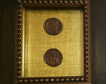 Two, Emperor Valentinian The 1st Coins In Frame