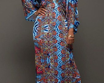 V Neck Long Sleeves Digital Printing Dress