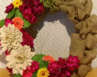Burlap Wreath - Bright Flowers
