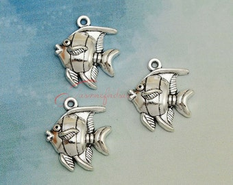 15PCS--24x21mm ,Angelfish Charms, Antique Silver Angel Fish  Charm pendant, DIY supplies,Jewelry Making
