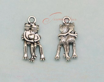 25PCS--24x12mm Love Frog Charms, Antique Tibetan Silver Double side Love Frog Charms pendant, DIY Findings, Jewelry Making JAS5845