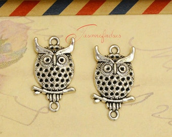 20PCS--26x15mm ,Owl Charms, Antique silver owls connector charm pendants, DIY supplies,Jewelry Making JAS00091