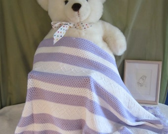 "Crochet Baby Blanket, Lavender and White with Hearts 36"" x 25"""