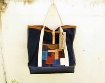 Patchwork & Denim Tote Bag.