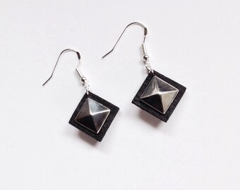 Pyramid Stud Drop Earrings