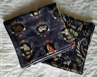 Woodland Scrapbook Burp Cloths gift set in navy