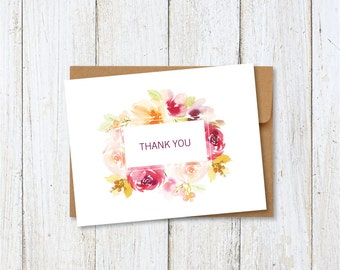 Printable Thank You Card, Wedding Thank You, Instant Download, Digital File, DIY, Print at Home, Floral Card, A2, Wedding Stationery, Bridal