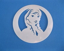 Laser Cut Reusable Washable Mylar 190 Micron Stencil Anna from Frozen 115mm