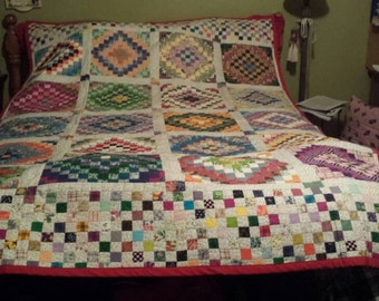 "Vintage patchwork quilt, beautifully made 87""x57"" handmade quilt"