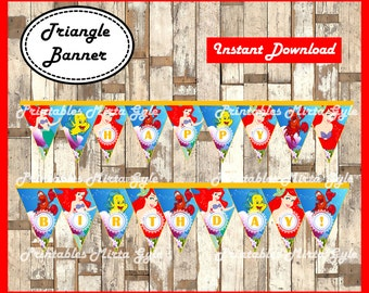 The Little Mermaid Banner, printable Little Mermaid party Banner, princess Ariel triangle Banner
